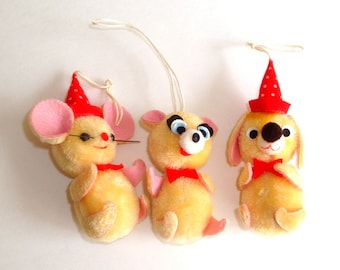 Vintage Christmas Ornaments, Animals, Mouse, Bear, Dog, Kitsch, Fuzzy, Red Hats, Made in Japan Holiday Decorations,   Set of Three  (178-16)