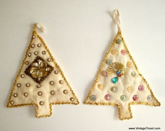Set of Two Vintage Christmas Tree Ornaments, Felt, Buttons, Jewelry, Gold Rick Rack, Faux Pearls, Holiday Decor, Retro Decoration  (180-16)