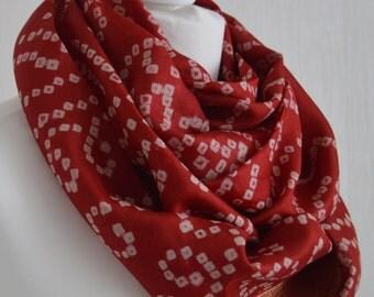 Red Tie Dye Sari Silk Infinity Scarf - Handmade Recycled - Eternity Scarf - Loop Scarf - Pure Silk Scarf - Unique Original Gift - CMCISE0162
