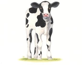 "COW PAINTING Calf Cow Art  Animal Painting  Farm Art Original Fine Art 8 x 10"" by Sharon France  Nursery Art Cow Illustration Painting"