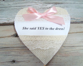 She said yes to the dress . Bridal shower or engagement cake topper . ivory heart cake topper
