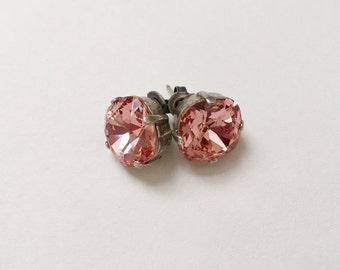 Rose Peach Earrings, 12mm Cushion Cut Swarovski Rose Peach Crystals,  Set In Vintage Patina Antique Silver, Post Setting, Stud Earrings