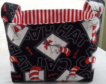 Fabric Organizer Basket Container Dr Seuss Black Squares Bin Caddy Storage -