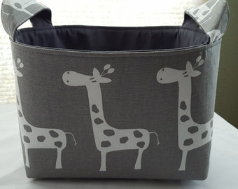 Fabric Organizer Basket Storage Container Bin - Grey with white Giraffes