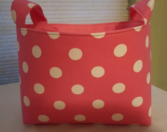 Fabric Organizer Basket Storage Bin Container Fabric  - Pink with White Polka Dots