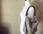 Tribeca Slouchy Linen Hobo Bag wirh Genuine Leather Strap
