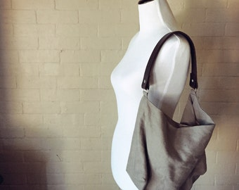 Tribeca Slouchy Linen Hobo Bag wirh Genuine Leather Strap