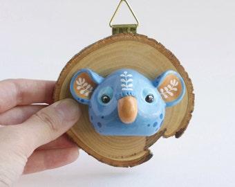 Faux Taxidermy Koala - koala art sculpture, wood slice wall art, small wall hanging, whimsical animal art, living room reading nook decor