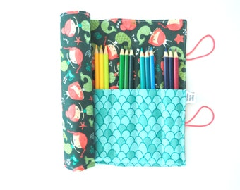 Pencil Roll  - Mermaid -holds 16 - 24 pencils - Bible Journaling knitting needles stocking stuffer homeschool colored pencil