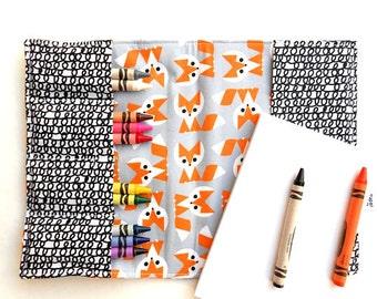 Crayon Notebook - Picture Pie Fox - twistable crayon holder, crayon folder, toddler gift, kids coloring, organic