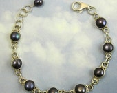 30% OFF Sterling Silver Bracelet with Blue Fresh Water Pearls B-C