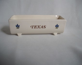 Ceramic Holder for Sweetener Packets / With Texas and Bluebonnets