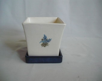 Small Square Planter With Drip Tray / With Bluebonnets