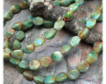 Pinch Beads in Turquoise Picasso Czech Glass