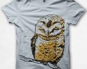 Kids Tshirt Owl Shirt Bird T shirt Screenprinted - Pale Blue