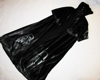 Day of the Dead corpse unique Black velour CAPE  Halloween costume Dia de los Muertos  sugar skull dead ghost