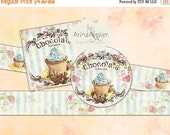 30% OFF SALE - Labels Shabby Chic Chocolate Cupcakes - Set of 2 Printable Sheet - digital Labels - digital Tags - Collage Digital Cards