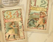 Digital Printable Collage Sheet One Two Buckle My Shoe Victorian Counting Cards