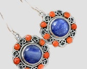 Sale, Adorable Rare Kyanite and Red Coral Earrings, 925 Silver. Ukrainian Style