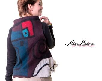 Wearable art women vest, Paris designer nuno felt vest, abstract art, reversible, convertible boléro - ecofriendly wool silk vest, isotherm