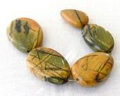 Large Yellow Creek Jasper Gemstone Flat Nuggets Graduated Size 5 Focal Beads CRKET1