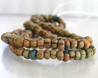 4/0 Czech Matte Aged Striped Picasso 6-Inch Strand/50B Matte Glass Seed Beads