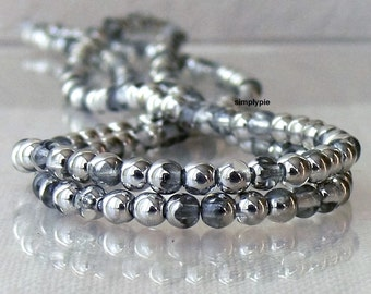 Silver Crystal Czech Glass Beads 4mm 100 Round Druk Per Strand
