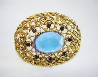 Blue Stone  Brooch Gold Tone