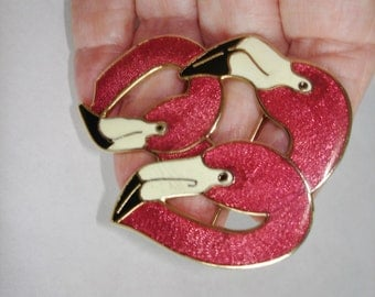 Pink Flamingo Birds Vintage Jewelry Animal  Brooch Multi Tone Signed with Bird Crown.