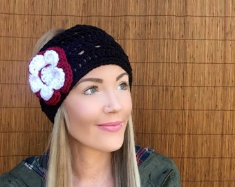 Atlanta Falcons Black Headband w/ Crimson Red White Flower Natural Vegan Coconut Shell Buttons Headwrap Earwarmers Hair Fashion Football