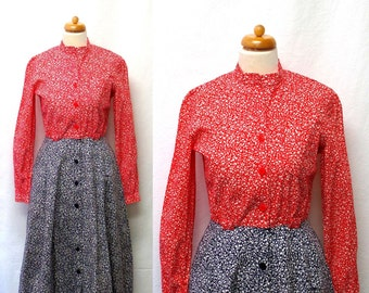 1960s / 70s Vintage Cotton Shirt Dress / Red White Blue Floral Colour Block Dress
