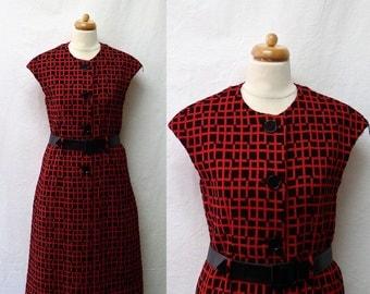 1960s Vintage Wool Dress & Embossed Belt / Red and Black Geometric Textured Dress