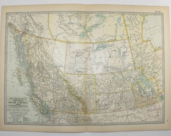 Northwest Territories Map NWT Manitoba Canada Map British Columbia 1901 Antique Map, Vintage Western Canada Map, Wedding Gift for Couple