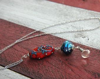 Blue Vine Lampwork and Gemstone Vertical Pendant