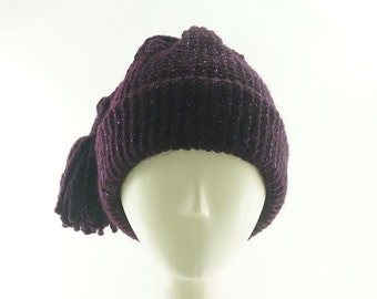 Galaxy Purple BEANIE HAT For Women / Knit Hat w Tassel / Wool Slouch Hat / Handmade by Marcia Lacher Hats