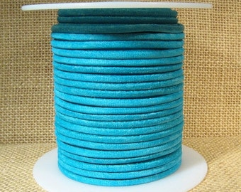 3mm Round Suede Cord - Turquoise - Choose Your Length
