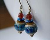 Earthy Blue Earrings, Lampwork Glass Earrings, Beaded Earrings, Stone Bead Earrings, Beaded Earrings