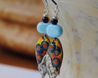 Colorful Teardrop Earrings, Artisan Enamel Earrings, Long Earrings, Lampwork Bead Earrings, Soldered Metal Earrings, Butterfly Earrings