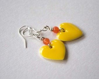 Heart Earrings, Yellow Orange Earrings, Enamel Earrings, Dangle Earrings, Valentine Earrings, Valentine Jewelry, Sweetheart Jewelry