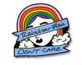 PRE-ORDER! Rainbow Hair, Don't Care Lapel Pin