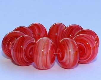 "Handmade Lampwork Beads, 10 Pieces ""Red and White on Clear"", Size about 11.3 to 12.0 mm"