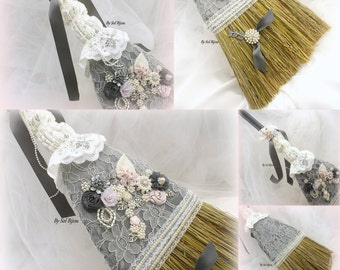 Wedding Broom, Ivory, Pewter, Blush, Silver, Gray, Grey, Jump the broom, Crystals, Pearls, Vintage Style, Elegant Wedding, Gatsby Wedding