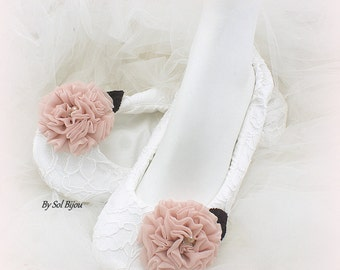 Ballet Flats, White, Blush, Plum, Purple, Wedding Flats, Elegant, Ballet Slippers, Flower Girl, Lace Flats, Vinage Wedding, Pearls, Crystals