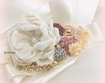 Wedding Sash, Rose, Blush, Dusty Rose, Champagne, Tan, Wedding Reception, Elegant Wedding, Flower Girl, Pearls, Crystals, Vintage Style