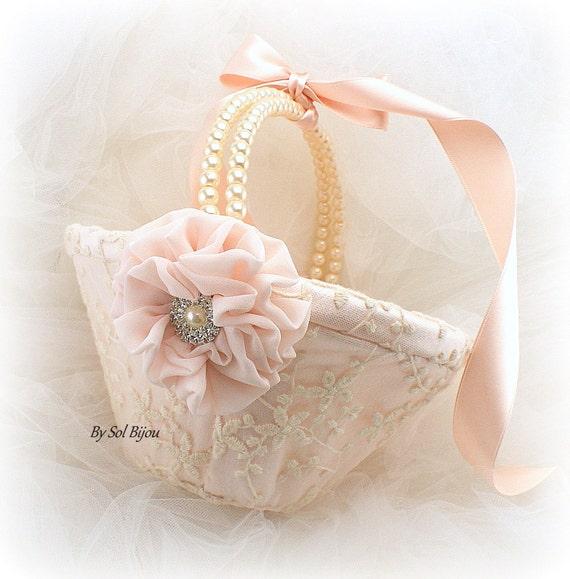 Flower Girl Basket Blush : Flower girl basket blush pink ivory lace