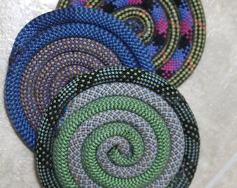 Set of Three Coasters - from Recycled climbing rope - Colors Vary