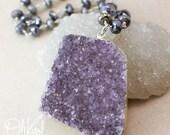 50 OFF SALE Free Form Purple Druzy Necklace - Mystic Labradorite, Pyrite Chain - Long Druzy Necklace