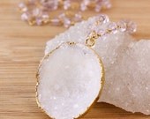 50 OFF SALE Gold White Druzy Cave Necklace - on Pink Amethyst Chain - Geode Slice Necklace