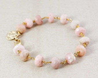 ON SALE Pink Opal Bracelet – Golden Charm