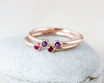25% OFF Dual Birthstone Ring - AAA Gemstones - Rose Gold
